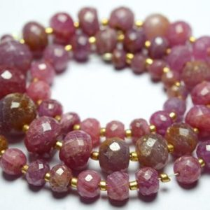 Shop Pink Sapphire Beads! 14.5 Inches Strand Natural Pink Sapphire Rondelle Beads 4.5mm to 10mm Faceted Gemstone Beads Rare Sapphire Stone Precious Rondelles No1109   Natural genuine faceted Pink Sapphire beads for beading and jewelry making.  #jewelry #beads #beadedjewelry #diyjewelry #jewelrymaking #beadstore #beading #affiliate #ad