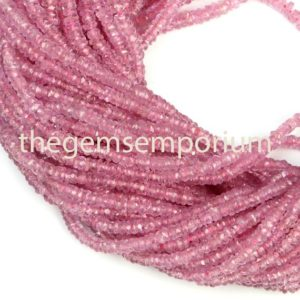 Pink Sapphire Faceted Rondelle Shape Beads, Natural Pink Sapphire Rondelle Beads, Pink Sapphire Faceted Beads, Pink Sapphire Precious Beads   Natural genuine beads Pink Sapphire beads for beading and jewelry making.  #jewelry #beads #beadedjewelry #diyjewelry #jewelrymaking #beadstore #beading #affiliate #ad