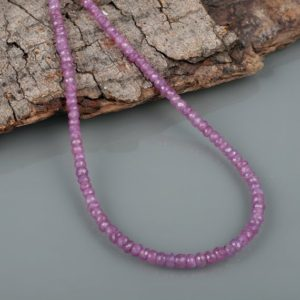 Shop Pink Sapphire Necklaces! Pink Sapphire Necklace Faceted Rondelle Necklace Pink Necklace Precious Gemstone Necklace Wedding Gift Anniversary Gift Birthstone Necklace   Natural genuine Pink Sapphire necklaces. Buy handcrafted artisan wedding jewelry.  Unique handmade bridal jewelry gift ideas. #jewelry #beadednecklaces #gift #crystaljewelry #shopping #handmadejewelry #wedding #bridal #necklaces #affiliate #ad