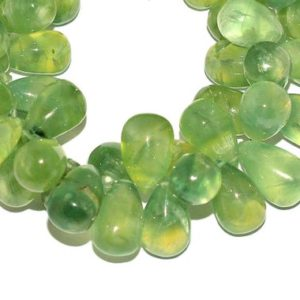 Prehnite Gemstone Teardrop Smooth Briolette Beads | 10x16mm Loose Drops | Natural Prehnite Semi Precious Gemstone Teardrop Beads for Jewelry | Natural genuine other-shape Gemstone beads for beading and jewelry making.  #jewelry #beads #beadedjewelry #diyjewelry #jewelrymaking #beadstore #beading #affiliate #ad