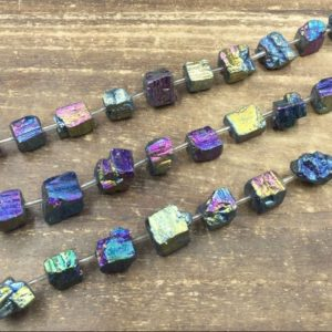 """Titanium Rainbow Pyrite Nuggets Pyrite Cube Beads Iron Pyrite Nugget Cube Beads 10-12mm Raw Loose Pyrite Gemstone beads  15.5"""" full strand 