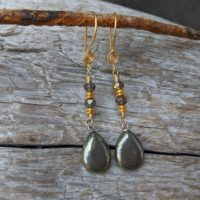 Pyrite Earrings, Gemstone Earrings, Dangle Earrings, Artisan Earrings, Artistic Earrings, Statement Earrings, Boho Earrings | Natural genuine Gemstone jewelry. Buy crystal jewelry, handmade handcrafted artisan jewelry for women.  Unique handmade gift ideas. #jewelry #beadedjewelry #beadedjewelry #gift #shopping #handmadejewelry #fashion #style #product #jewelry #affiliate #ad