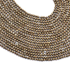 """Shop Pyrite Faceted Beads! AAA+ Pyrite Gemstone 3mm-4mm Round Micro Faceted Beads   13"""" Strand   Natural Pyrite Semi Precious Gemstone Loose Beads for Jewelry Making   Natural genuine faceted Pyrite beads for beading and jewelry making.  #jewelry #beads #beadedjewelry #diyjewelry #jewelrymaking #beadstore #beading #affiliate #ad"""