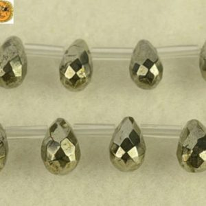 Shop Pyrite Beads! Iron Pyrite Faceted Teardrop Top Drilled Beads, golden Brass Beads 5x9mm 8x12mm 8x24mm | Natural genuine beads Pyrite beads for beading and jewelry making.  #jewelry #beads #beadedjewelry #diyjewelry #jewelrymaking #beadstore #beading #affiliate #ad