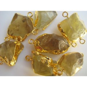 Shop Quartz Chip & Nugget Beads! Raw Beer Quartz Connectors, Gemstone Connectors, Beer Quartz Stone, 5 Pieces, 22mm To 28mm Approx | Natural genuine chip Quartz beads for beading and jewelry making.  #jewelry #beads #beadedjewelry #diyjewelry #jewelrymaking #beadstore #beading #affiliate #ad
