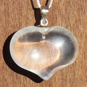 Shop Quartz Crystal Necklaces! Clear Quartz / rock Crystal Puffy Heart Healing Stone Necklace With Positive Healing Energy! | Natural genuine Quartz necklaces. Buy crystal jewelry, handmade handcrafted artisan jewelry for women.  Unique handmade gift ideas. #jewelry #beadednecklaces #beadedjewelry #gift #shopping #handmadejewelry #fashion #style #product #necklaces #affiliate #ad