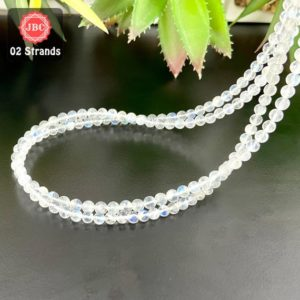 Shop Rainbow Moonstone Round Beads! Natural Rainbow Moonstone 4-4.5mm Smooth Round Shape Gemstone Beads Lot / Approx 191 Pieces on 2 Strands of 16 Inch Length / JBC-ET-158056 | Natural genuine round Rainbow Moonstone beads for beading and jewelry making.  #jewelry #beads #beadedjewelry #diyjewelry #jewelrymaking #beadstore #beading #affiliate #ad