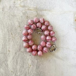 Shop Rhodochrosite Necklaces! Banded Rhodochrosite 13-14mm Round Beaded Necklace with Interlocking Clasp | Natural genuine Rhodochrosite necklaces. Buy crystal jewelry, handmade handcrafted artisan jewelry for women.  Unique handmade gift ideas. #jewelry #beadednecklaces #beadedjewelry #gift #shopping #handmadejewelry #fashion #style #product #necklaces #affiliate #ad