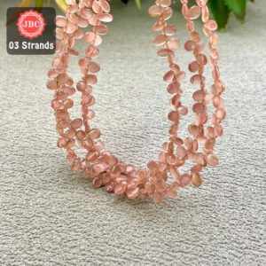 Shop Rhodochrosite Bead Shapes! Natural Rhodochrosite 5-7mm Smooth Pear Shape Gemstone Beads Lot / Approx 241 Pieces on 3 Strands of 8 Inch Length / JBC-ET-158124 | Natural genuine other-shape Rhodochrosite beads for beading and jewelry making.  #jewelry #beads #beadedjewelry #diyjewelry #jewelrymaking #beadstore #beading #affiliate #ad