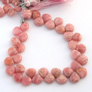Shop Rhodochrosite Bead Shapes! Natural Rhodochrosite Smooth Heart Briolette Beads, 8mm / 9mm / 10mm Pink Rhodochrosite Gemstone Beads, Sold As 8 & 4 Inch Strand, Gds2094 | Natural genuine other-shape Rhodochrosite beads for beading and jewelry making.  #jewelry #beads #beadedjewelry #diyjewelry #jewelrymaking #beadstore #beading #affiliate #ad