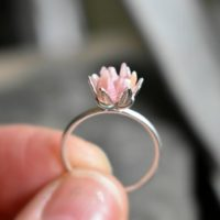 Unique Rhodochrosite Ring, Pink And Silver Jewelry, Pink Crystal Engagement Ring, Lotus Flower Ring In Silver, Rough Gemstone Jewelry | Natural genuine Gemstone jewelry. Buy handcrafted artisan wedding jewelry.  Unique handmade bridal jewelry gift ideas. #jewelry #beadedjewelry #gift #crystaljewelry #shopping #handmadejewelry #wedding #bridal #jewelry #affiliate #ad