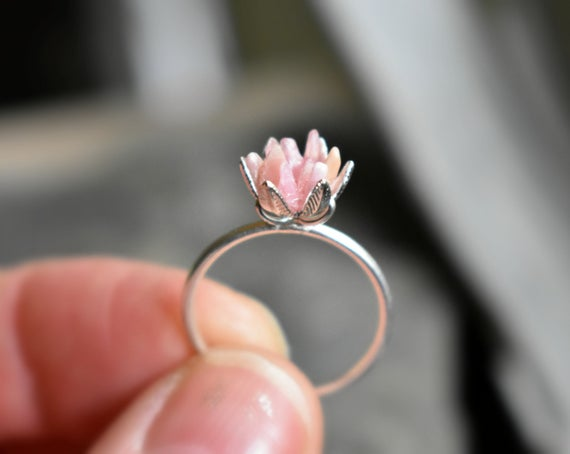 Unique Rhodochrosite Ring, Pink And Silver Jewelry, Pink Crystal Engagement Ring, Lotus Flower Ring In Silver, Rough Gemstone Jewelry