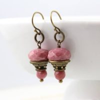 Pink Gem Earrings, Rhodonite Earrings, Antique Earrings, Dangle Earrings, Gift For Her, Gold Earrings, Gem Drop Earrings, Rustic Earrings | Natural genuine Gemstone jewelry. Buy crystal jewelry, handmade handcrafted artisan jewelry for women.  Unique handmade gift ideas. #jewelry #beadedjewelry #beadedjewelry #gift #shopping #handmadejewelry #fashion #style #product #jewelry #affiliate #ad