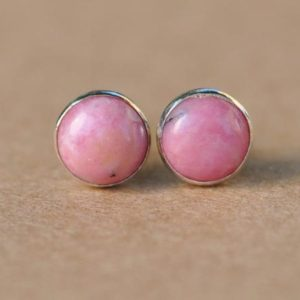 Rhodonite Earrings, Sterling Silver Rhodonite Earring jewellery Studs, | Natural genuine Array jewelry. Buy crystal jewelry, handmade handcrafted artisan jewelry for women.  Unique handmade gift ideas. #jewelry #beadedjewelry #beadedjewelry #gift #shopping #handmadejewelry #fashion #style #product #jewelry #affiliate #ad