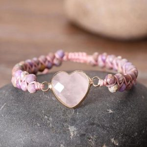Healing Natural Stone Rose Quartz Bracelet-Spiritual Calming Reiki Mental Health Balance Meditation Inner Peace Anxiety Relief Bracelet | Natural genuine Rose Quartz bracelets. Buy crystal jewelry, handmade handcrafted artisan jewelry for women.  Unique handmade gift ideas. #jewelry #beadedbracelets #beadedjewelry #gift #shopping #handmadejewelry #fashion #style #product #bracelets #affiliate #ad