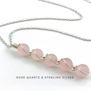 Shop Rose Quartz Necklaces! Rose Quartz Necklace, Sterling Silver, Love Necklace | Natural genuine Rose Quartz necklaces. Buy crystal jewelry, handmade handcrafted artisan jewelry for women.  Unique handmade gift ideas. #jewelry #beadednecklaces #beadedjewelry #gift #shopping #handmadejewelry #fashion #style #product #necklaces #affiliate #ad