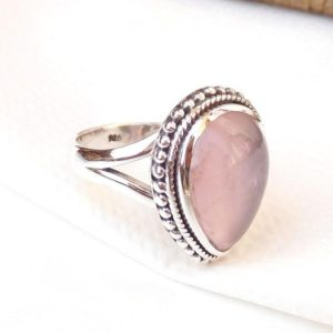 Rose Quartz Ring, Pink Rose Quartz Ring, 925 Sterling Silver Rose quartz Ring, Handmade 925 Sterling Silver Pink Rose Quartz Rings-U210 | Natural genuine Array jewelry. Buy crystal jewelry, handmade handcrafted artisan jewelry for women.  Unique handmade gift ideas. #jewelry #beadedjewelry #beadedjewelry #gift #shopping #handmadejewelry #fashion #style #product #jewelry #affiliate #ad