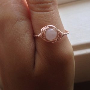 Rose Quartz Ring – Wire Wrapped Ring – Size 7.5 US Crystal Ring – Crystal Healing Spiritual Jewelry – Grandma Gift Ring – Simple Rose Quartz | Natural genuine Gemstone rings, simple unique handcrafted gemstone rings. #rings #jewelry #shopping #gift #handmade #fashion #style #affiliate #ad