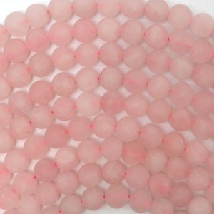 """Shop Rose Quartz Round Beads! 8mm matte pink rose quartz round beads 15"""" strand 38671 