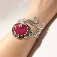Wire Wrapped Jewelry, Ruby Bracelet, Ruby Jewelry, Unique Gift For Woman, Silver Wire Jewelry, Stone Cuff Bracelet For Woman, Gift For Mom | Natural genuine Gemstone jewelry. Buy crystal jewelry, handmade handcrafted artisan jewelry for women.  Unique handmade gift ideas. #jewelry #beadedjewelry #beadedjewelry #gift #shopping #handmadejewelry #fashion #style #product #jewelry #affiliate #ad