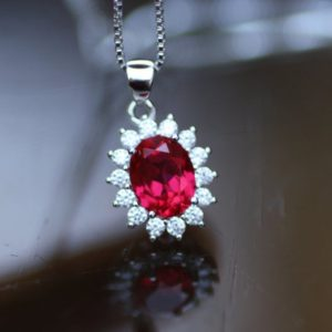 Shop Ruby Pendants! Created Ruby Pendant Sterling Silver 925 , July Birthstone , 40th Anniversary , Tet | Natural genuine Ruby pendants. Buy crystal jewelry, handmade handcrafted artisan jewelry for women.  Unique handmade gift ideas. #jewelry #beadedpendants #beadedjewelry #gift #shopping #handmadejewelry #fashion #style #product #pendants #affiliate #ad