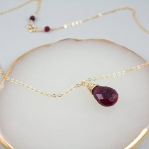 Shop Ruby Pendants! Genuine Ruby Necklace Gold Filled, Ruby Birthstone Necklace, Ruby Pendant Necklace Gold, July Birthstone Necklace, Ruby Bead Necklace | Natural genuine Ruby pendants. Buy crystal jewelry, handmade handcrafted artisan jewelry for women.  Unique handmade gift ideas. #jewelry #beadedpendants #beadedjewelry #gift #shopping #handmadejewelry #fashion #style #product #pendants #affiliate #ad