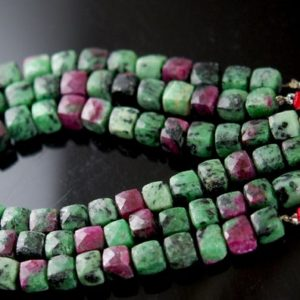 Shop Ruby Zoisite Faceted Beads! Gorgeous ruby zoisite faceted 3D cubes 28.00 | Natural genuine faceted Ruby Zoisite beads for beading and jewelry making.  #jewelry #beads #beadedjewelry #diyjewelry #jewelrymaking #beadstore #beading #affiliate #ad