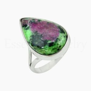 Shop Ruby Zoisite Rings! Cute Ruby Zoisite Ring, Women's Jewelry, 925 Sterling Silver, Pear Gemstone Ring, Statement Ring, Split Band Ring, Cabochon Gemstone, Sale | Natural genuine Ruby Zoisite rings, simple unique handcrafted gemstone rings. #rings #jewelry #shopping #gift #handmade #fashion #style #affiliate #ad