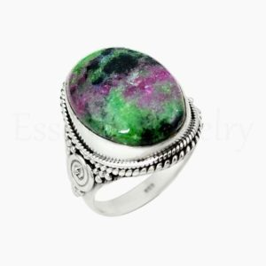 Shop Ruby Zoisite Rings! Natural Ruby Zoisite Ring, Silver Jewelry, 925 Sterling Silver, Oval Gemstone, Statement Ring, Wide Band Ring, Cabochon Gemstone, Sale Ring | Natural genuine Ruby Zoisite rings, simple unique handcrafted gemstone rings. #rings #jewelry #shopping #gift #handmade #fashion #style #affiliate #ad