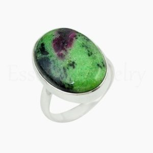 Shop Ruby Zoisite Rings! Natural Ruby Zoisite Ring, Women's Jewelry, 925 Sterling Silver, Beautiful Ring, Statement Ring, Simple Band Ring, Cabochon Gemstone, Boho | Natural genuine Ruby Zoisite rings, simple unique handcrafted gemstone rings. #rings #jewelry #shopping #gift #handmade #fashion #style #affiliate #ad