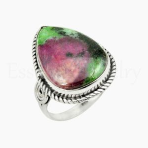 Shop Ruby Zoisite Rings! Pear Ruby Zoisite Ring, Women's Jewelry, 925 Sterling Silver, Beautiful Ring, Statement Ring, Simple Band Ring, Cabochon Gemstone, Boho Ring | Natural genuine Ruby Zoisite rings, simple unique handcrafted gemstone rings. #rings #jewelry #shopping #gift #handmade #fashion #style #affiliate #ad