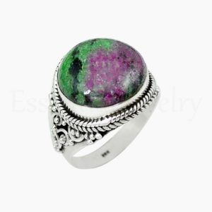 Shop Ruby Zoisite Rings! Round Ruby Zoisite Ring, Women's Jewelry, 925 Sterling Silver, Natural Gemstone , Statement Ring, Wide Band Ring, Cabochon Gemstone, Sale | Natural genuine Ruby Zoisite rings, simple unique handcrafted gemstone rings. #rings #jewelry #shopping #gift #handmade #fashion #style #affiliate #ad