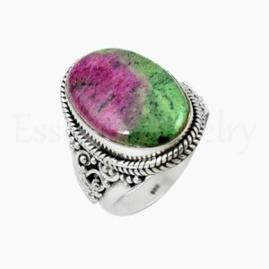 Shop Ruby Zoisite Rings! Ruby Zoisite Ring, Silver Jewelry, 925 Sterling Silver, Oval Gemstone, Statement Ring, Silver Band Ring, Cabochon Gemstone, Sale Ring, Gift | Natural genuine Ruby Zoisite rings, simple unique handcrafted gemstone rings. #rings #jewelry #shopping #gift #handmade #fashion #style #affiliate #ad