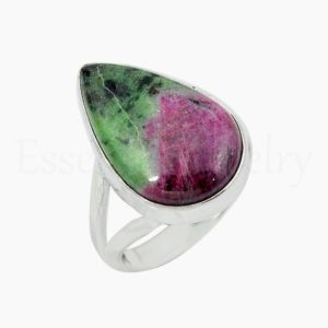 Shop Ruby Zoisite Rings! Simple Ruby Zoisite Ring, Silver Jewelry, 925 Sterling Silver, Pear Gemstone, Statement Ring, Split Band Ring, Cabochon Gemstone, Boho Ring | Natural genuine Ruby Zoisite rings, simple unique handcrafted gemstone rings. #rings #jewelry #shopping #gift #handmade #fashion #style #affiliate #ad