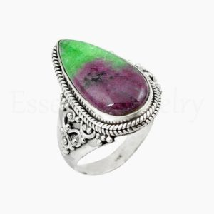 Shop Ruby Zoisite Rings! Ruby Zoisite Ring, Women's Jewelry, 925 Sterling Silver, Pear Gemstone Ring, Statement Ring, Designer Band Ring, Cabochon Gemstone, Sale | Natural genuine Ruby Zoisite rings, simple unique handcrafted gemstone rings. #rings #jewelry #shopping #gift #handmade #fashion #style #affiliate #ad