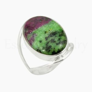 Shop Ruby Zoisite Rings! Ruby Zoisite Ring, Women's Jewelry, 925 Sterling Silver, Oval Gemstone Ring, Statement Ring, Wide Band Ring, Cabochon Gemstone, Dainty Ring | Natural genuine Ruby Zoisite rings, simple unique handcrafted gemstone rings. #rings #jewelry #shopping #gift #handmade #fashion #style #affiliate #ad