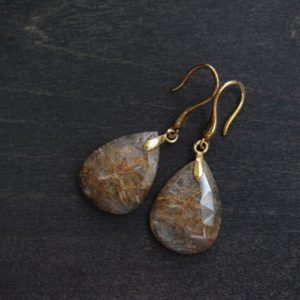 Shop Rutilated Quartz Earrings! Copper Rutilated Quartz Drop Earrings – Natural Faceted Pear Shape Quartz – Gold Vermeil | Natural genuine Rutilated Quartz earrings. Buy crystal jewelry, handmade handcrafted artisan jewelry for women.  Unique handmade gift ideas. #jewelry #beadedearrings #beadedjewelry #gift #shopping #handmadejewelry #fashion #style #product #earrings #affiliate #ad