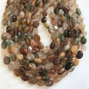 Shop Rutilated Quartz Bead Shapes! natural rutilated quartz 12x8x5mm flat oval natural gemstone beads–15.5 inch strand   Natural genuine other-shape Rutilated Quartz beads for beading and jewelry making.  #jewelry #beads #beadedjewelry #diyjewelry #jewelrymaking #beadstore #beading #affiliate #ad
