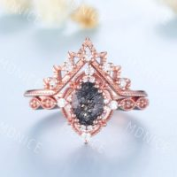 Oval Black Rutilated Quartz Ring, Rose Gold Rings For Women, Vintage Engagement Ring, Curved Stacking Matching Band, Anniversary Ring | Natural genuine Gemstone jewelry. Buy handcrafted artisan wedding jewelry.  Unique handmade bridal jewelry gift ideas. #jewelry #beadedjewelry #gift #crystaljewelry #shopping #handmadejewelry #wedding #bridal #jewelry #affiliate #ad