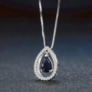 Shop Sapphire Pendants! 5X7mm Teardrop 100% Dark Blue Color Real Blue Sapphire 925 Sterling Silver Chain Pendant Necklace Jewelry for Women for Girls, Gift For Her | Natural genuine Sapphire pendants. Buy crystal jewelry, handmade handcrafted artisan jewelry for women.  Unique handmade gift ideas. #jewelry #beadedpendants #beadedjewelry #gift #shopping #handmadejewelry #fashion #style #product #pendants #affiliate #ad