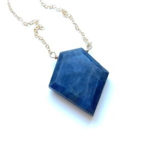Shop Sapphire Pendants! Large Sapphire Necklace – September Birthstone Pendant Necklace – Blue Sapphire Jewelry Gift For Wife  – Silver or Gold | Natural genuine Sapphire pendants. Buy crystal jewelry, handmade handcrafted artisan jewelry for women.  Unique handmade gift ideas. #jewelry #beadedpendants #beadedjewelry #gift #shopping #handmadejewelry #fashion #style #product #pendants #affiliate #ad