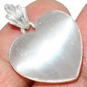 Shop Selenite Necklaces! Very Beautiful Selenite Necklace, 925 Silver, Heart   Natural genuine Selenite necklaces. Buy crystal jewelry, handmade handcrafted artisan jewelry for women.  Unique handmade gift ideas. #jewelry #beadednecklaces #beadedjewelry #gift #shopping #handmadejewelry #fashion #style #product #necklaces #affiliate #ad