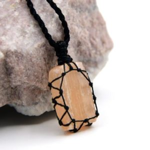 Shop Selenite Pendants! Selenite Necklace, Orange Jewelry for Women, Macrame Pendant Necklace, Witchy Birthday Gifts, Selenite Gifts | Natural genuine Selenite pendants. Buy crystal jewelry, handmade handcrafted artisan jewelry for women.  Unique handmade gift ideas. #jewelry #beadedpendants #beadedjewelry #gift #shopping #handmadejewelry #fashion #style #product #pendants #affiliate #ad
