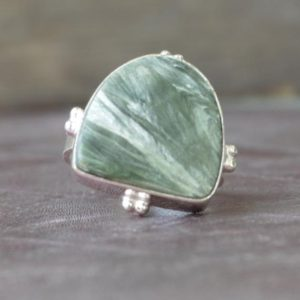 Shop Seraphinite Rings! Seraphinite ring, Fancy Cab Green Seraphinite Gemstone Ring , 925 sterling silver Ring,  14K Yellow Gold, Rose Gold Fill Jewelry   Natural genuine Seraphinite rings, simple unique handcrafted gemstone rings. #rings #jewelry #shopping #gift #handmade #fashion #style #affiliate #ad