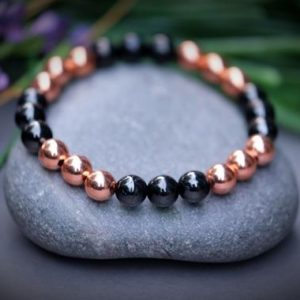 Petrovsky + Copper Bracelet Superior Shungite Magnified Healing EMF 5G Protection Inflammation Arthritis Blood Circulation Health | Natural genuine Array bracelets. Buy crystal jewelry, handmade handcrafted artisan jewelry for women.  Unique handmade gift ideas. #jewelry #beadedbracelets #beadedjewelry #gift #shopping #handmadejewelry #fashion #style #product #bracelets #affiliate #ad