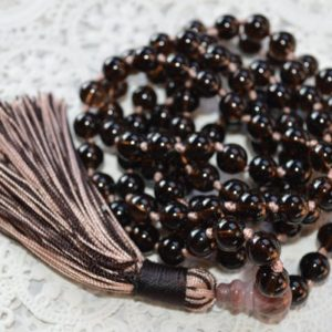 Shop Smoky Quartz Necklaces! Natural Smoky Smokey Quartz Brown Crystal Mala Beads Necklace Root Chakra Aids Sexual Life Aaa Grad Knotted Yoga Jewelry 108 Beaded Necklace | Natural genuine Smoky Quartz necklaces. Buy crystal jewelry, handmade handcrafted artisan jewelry for women.  Unique handmade gift ideas. #jewelry #beadednecklaces #beadedjewelry #gift #shopping #handmadejewelry #fashion #style #product #necklaces #affiliate #ad