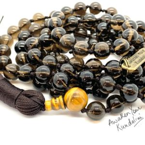 Shop Smoky Quartz Necklaces! Smokey Quartz Mala Beads Necklace Root Chakra Aids Sexual Life Aaa Grade Knotted Yoga Jewelry Brown Smoky Quartz Beads 108 Beaded Gem Boho | Natural genuine Smoky Quartz necklaces. Buy crystal jewelry, handmade handcrafted artisan jewelry for women.  Unique handmade gift ideas. #jewelry #beadednecklaces #beadedjewelry #gift #shopping #handmadejewelry #fashion #style #product #necklaces #affiliate #ad