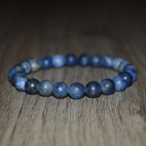 Shop Sodalite Jewelry! Matte Sodalite Bracelet, Elastic Bracelet, Mens Bracelet, Gemstone Bracelet, Gemstone Jewelry, Yoga Bracelet, Crystal Bracelet, Stone | Natural genuine Sodalite jewelry. Buy handcrafted artisan men's jewelry, gifts for men.  Unique handmade mens fashion accessories. #jewelry #beadedjewelry #beadedjewelry #shopping #gift #handmadejewelry #jewelry #affiliate #ad