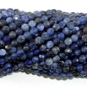 Shop Sodalite Faceted Beads! Sodalite Beads, 4mm Faceted Round Beads, 15 Inch, Full strand, Approx 90 beads, Hole 0.8 mm, A quality (411025003) | Natural genuine faceted Sodalite beads for beading and jewelry making.  #jewelry #beads #beadedjewelry #diyjewelry #jewelrymaking #beadstore #beading #affiliate #ad
