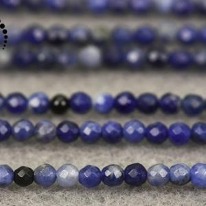 """Shop Sodalite Faceted Beads! Blue Sodalite faceted round beads,Sodalite,natural,gemstone,diy beads,jewelry making supplies,2mm 3mm for choice,15"""" full strand 